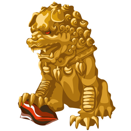 Golden lion statue with red eyes in an Asian style, Royal symbol