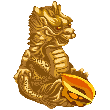 eastern spirituality: Figure of Golden dragon with an offering, Asian symbol Illustration