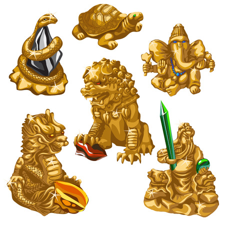 dynasty: Dragon, snake, Poseidon and other symbols of worship, six gold figures in the same style Illustration
