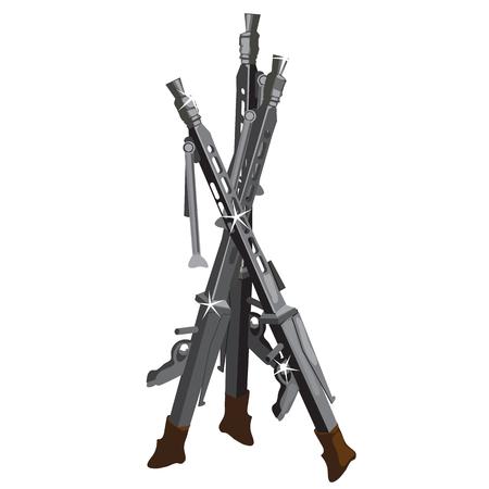 flintlock pistol: Vintage muskets, vintage weapons on a white background Illustration