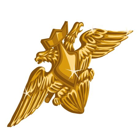 white headed: Golden emblem with sword and double-headed eagle on a white background