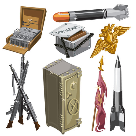 Rocket, flag, weapons, and other isolated objects, big vector set on a military theme Illustration