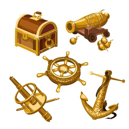 deck cannon: Fragments of the ship, cannon and treasure chest, five vector isolated object