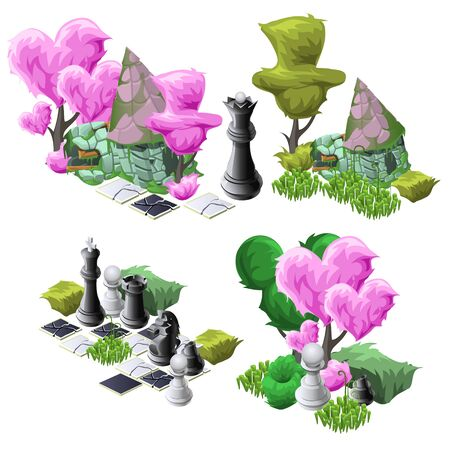 Beautiful scenery with topiary trees, chess and fabulous house, large vector decoration set