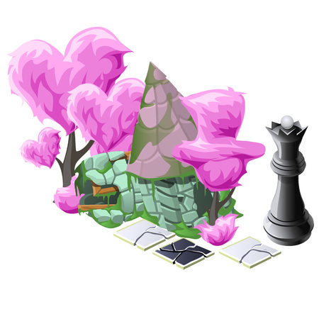 topiary: Scenery with pink topiary trees, chess and fairy house
