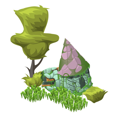 abandoned house: Green tree, bushes and an abandoned house, vector composition in cartoon style
