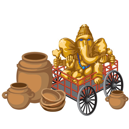 earthenware: Golden statue of God Ganesha on a cart and clay pots, vector composition Illustration