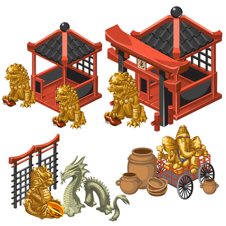 Architecture, deities and decorations in Asian style, big vector set of Asian theme Illustration