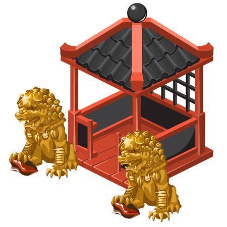 pabellón de estilo chino y estatuas de oro del león, la composición del vector del tema asiático