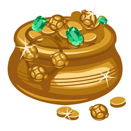 golden pot: Golden pot with coins and emeralds, symbol of success and celebration Illustration
