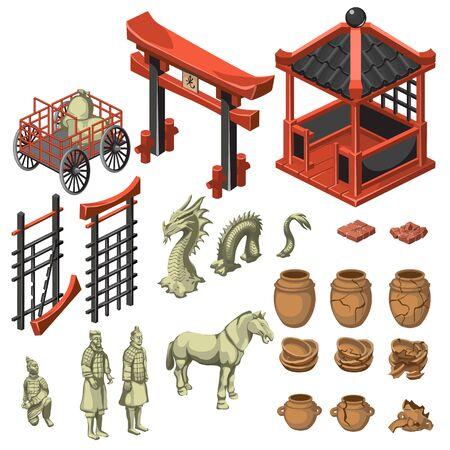 Architecture, dragon, samouraï et décoration dans le style asiatique, grand ensemble de vecteur de thème asiatique