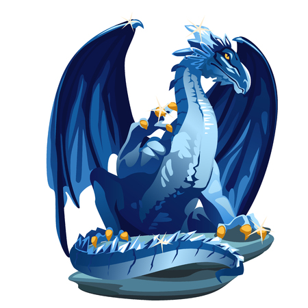 blue dragon: Figure icy blue dragon with Golden claws image closeup in cartoon style