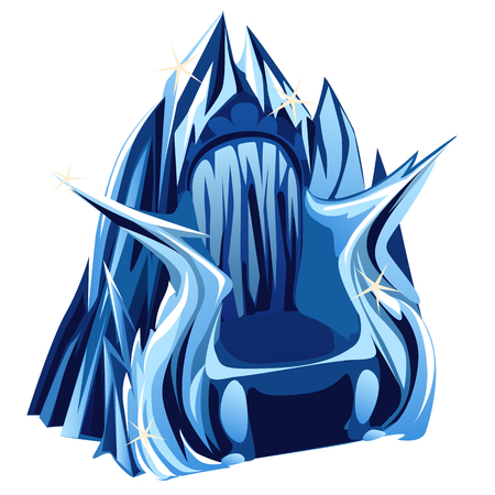 snow queen: Royal Gothic throne of ice image closeup in cartoon style Illustration