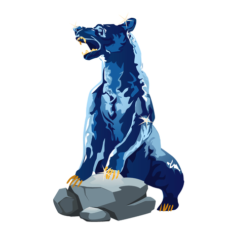 clumsy: Realistic bear made of ice, glittering blue figure of a bear on the rock