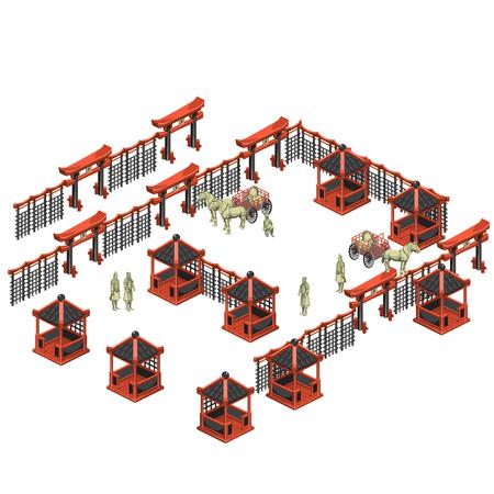 creador: creador escena, pabellones chinos, soldados y carros con caballos