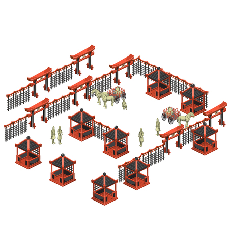 creador: Scene creator, Chinese pavilions, soldiers and carts with horses