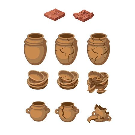 ollas de barro: Conjunto de jarras de barro y once platos, y todo los objetos rotos Vectores