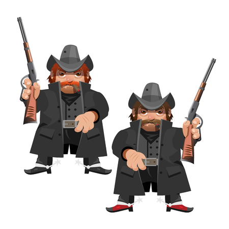 adventure story: Cowboy leader with rifle, cartoon vector character in Wild West