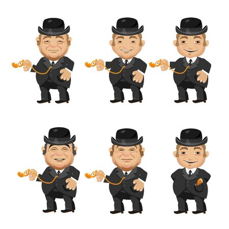 mayor: Six men in suits, providing the residents in 1870, vector characters Illustration