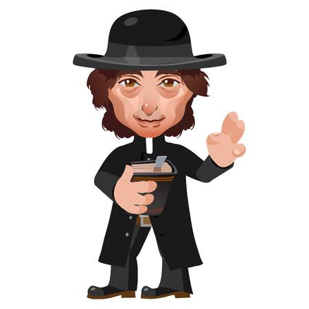 preacher: Preacher in Wild West, stylish image, cartoon vector character