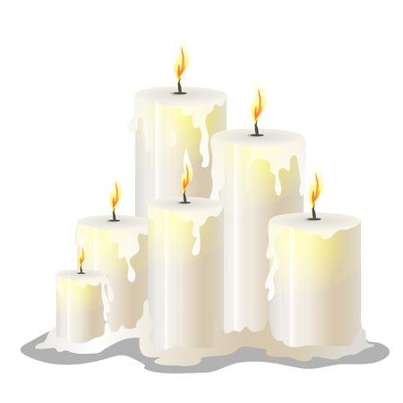 the wick: Vector set of white wax cylindrical candles with a burning wick Illustration