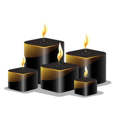 the wick: Vector set of black wax cylindrical candles with a burning wick Illustration
