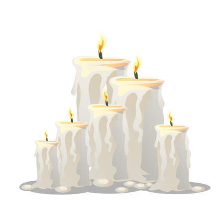 cylindrical: Vector set of white wax cylindrical candles with a burning wick Illustration
