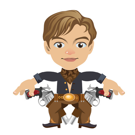 american stories: Cute blond man with weapon, vector character on white background in cartoon style