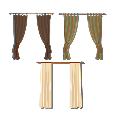 three objects: Set of three kind of curtains in a retro style, objects for decoration in cartoon style Illustration
