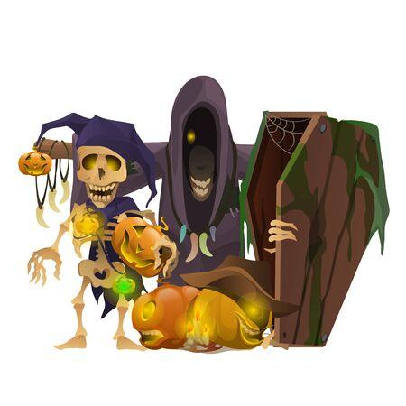 otherworldly: Monster, skeletons, pumpkins and other symbols of Halloween, vector composition on a white background Illustration
