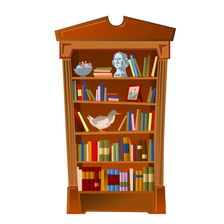 bibliophile: Bookshelf with bust, photo frame and toy, furniture interior on a white background Illustration
