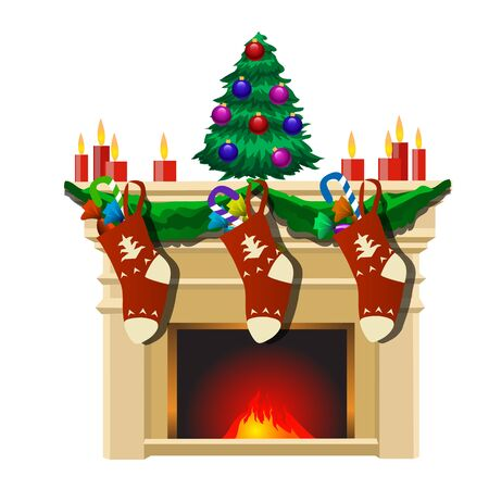 furtree: Fireplace with Christmas tree, gifts socks and candles, festive interior