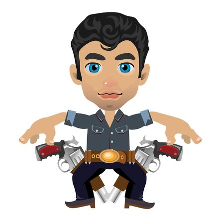 american stories: Cute brunette man with weapon, vector character on white background in cartoon style