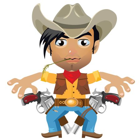 jaunty: Pretty cool guy, vector fictional character in the wild West style