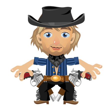 holster: Blond guy in the hat with holster and guns, character in wild West style