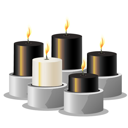 paraffin: Black and white burning candles on a metal stand, vector illustration