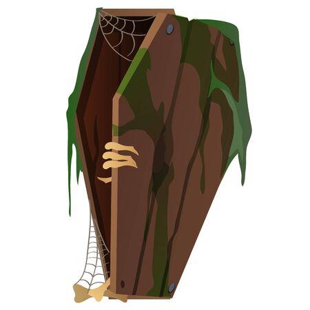 Dead man opens the coffin. Vector illustration isolated Illustration