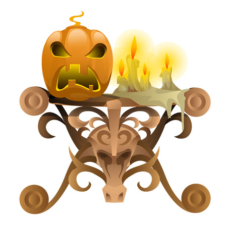 wrath: Vintagy table with the skull of a bull with attributes for Halloween