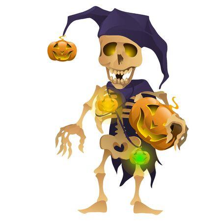 harlequin: Skeleton in the hat of harlequin with pumpkin. Symbol for Halloween Illustration