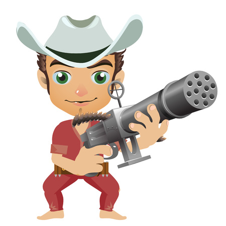Man in the hat armed with machine gun. Character in cartoon style