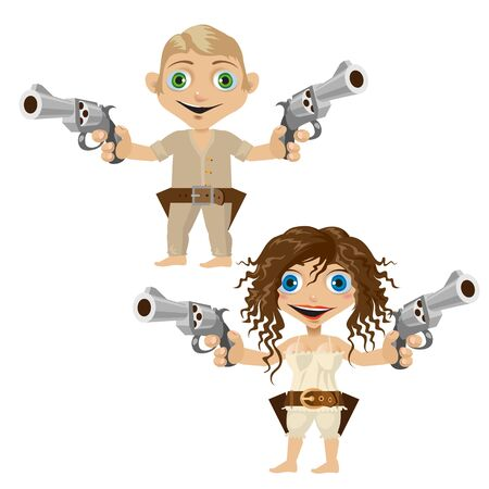 handguns: Man and woman armed with handguns, two funny character Illustration