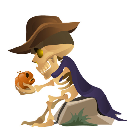 wraith: Skeleton in hat is talking with pumpkin. Funny vector composition