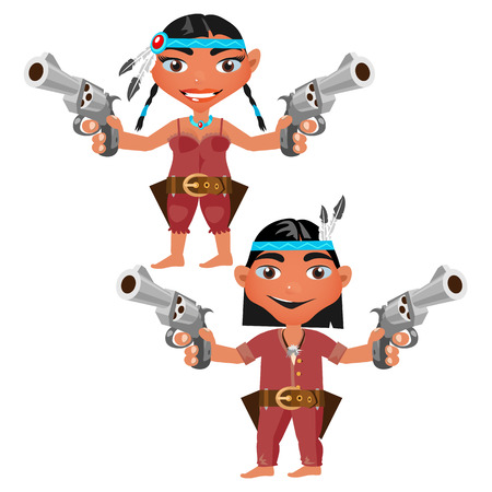 tribe: man and woman from the tribe of Indians with modern weapons, two cartoon character