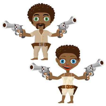 adventure story: Black man and woman with guns, two vector cartoon characters Illustration