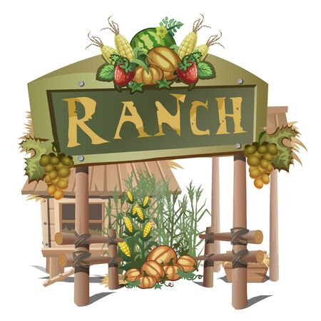 breeder: Farmhouse, entrance on a ranch with rich harvest. Vector illustration