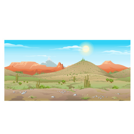 Scene creative, arid desert with rare plants and mountains in the distance
