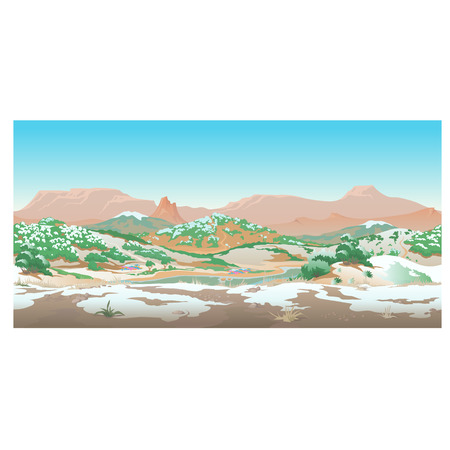 morning noon and night: Natural desert landscape with rest of snow, early spring. Scene creative Illustration