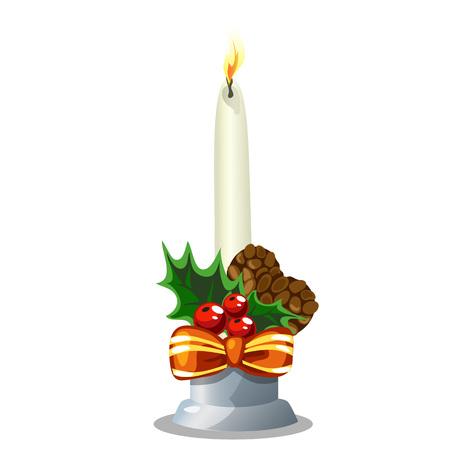 burning candle: Christmas white burning candle, holiday decoration. Vector illustration