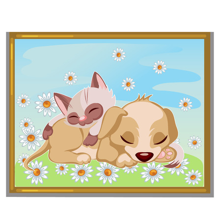 puppy and kitten: Picture of cute kitten sleeping on a puppy, interior decor