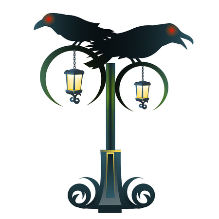 gothic style: Street Gothic lantern with two black Raven, cartoon style Illustration